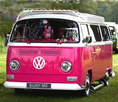 Pink Volkswagon Van, VDUB, VW bus, Volkswagen Camper - whichever you want to call it, its the perfect vintage travel companion for Glamping or the beach, in pink!!