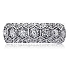 This mesmerizing Christopher Designs white gold wedding band ring contains 7 patented round criss-cut white diamonds, weighing carat total and round brilliant cut white diamonds, weighing carat total. White Gold Wedding Bands, Wedding Ring Bands, Christopher Designs, Girls Best Friend, Bling, Fancy, Jewels, Engagement, Diamond