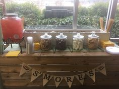 Smore bar on rustic table