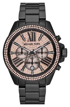MICHAEL Michael Kors Wren Pavé Dial Chronograph Bracelet Watch, 42mm   details on LOWKR.com