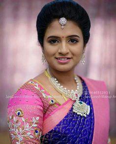 Saree Jewellery, Diamond Jewellery, South Indian Bride, Bride Look, Bridal Makeup, Beautiful Bride, Jewelry Necklaces, Hair Styles, Girl Face