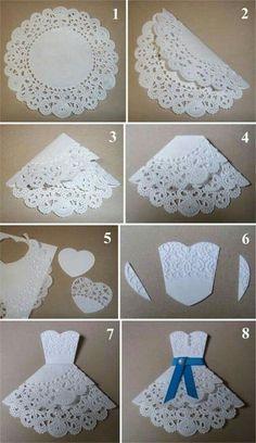Diy wedding cards handmade ideas new Ideas Diy Paper, Paper Crafts, Origami Paper, Origami Dress, Card Crafts, Papier Diy, Doilies Crafts, Bridal Shower Cards, Bridal Shower Umbrella