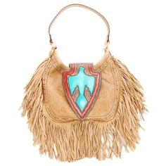 Women's Double J  Camel Pull-Up Arrowhead Hobo Bag