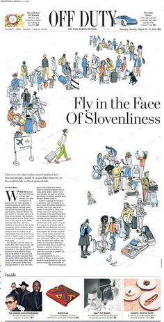 Clare Mallison illustrated how to dress chic whilst travelling for the cover of WSJ OffDuty, Art Director, Forest Evashevski Baby Sea Turtles, English Mastiff, Publication Design, Marker Pen, Wall Street Journal, Art Director, New Life, Editorial Design, Newspaper