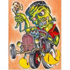 Franken Hot Rod by Sid Stankovitz Tattoo Art Canvas Print. Sid Stankovitz owns Sid's Tattoo Parlor in Santa Ana, California. The shop specializes in old style tattoo and art, and they love Christian religious-themed tattoos as well as building tattoo machines. Sid's American Traditional Style retro tattoo work is famous worldwide.