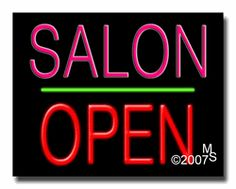 """Salon Open Neon Sign - Block Text - 24""""x31""""-ANS1500-3708-1g  31"""" Wide x 24"""" Tall x 3"""" Deep  Sign is mounted on an unbreakable black or clear Lexan backing  Top and bottom protective sides  110 volt U.L. listed transformer fits into a standard outlet  Hanging hardware & chain included  6' Power cord with standard transformer  Includes 2nd transformer for independent OPEN section control  For indoor use only  1 Year Warranty on electrical components."""