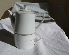 Vintage pot théière et crémier villeroy et par ancienesthetique