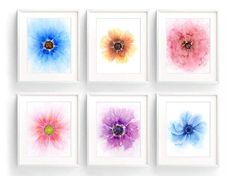 Save more than 35% by purchasing this set instead of buying the prints separately!  These watercolor flowers will bring the essence of summer to any room and the gorgeous colors will brighten any dreary winter day. This floral print set of 6 includes abstract style watercolor flowers painted in vivid purple and pink, soft rose, warm orange yellow, crisp blue and indigo. These vibrant and colorful wall art prints would make wonderful gifts as they look lovely on their own, or create your own…