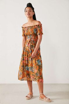 Kimchi Blue Off-The-Shoulder Smocked Midi Dress   Urban Outfitters