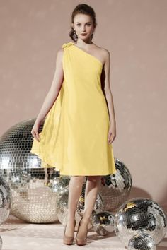 One Shoulder Elegant Draping Flowers Bridesmaid Dress - Shedressing.com
