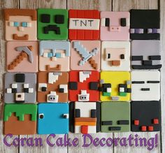 Edible Square Minecraft Cupcake Toppers x6 4.5cms, 21 To Choose From, Fondant in Home & Garden, Kitchen, Dining, Bar, Baking Accs. & Cake Decorating | eBay!