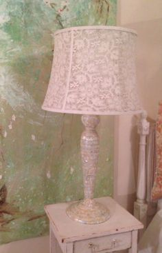 Rachel Ashwell Shabby Chic TM Mother Of Pearl Harlow Lamp Retail $375+ Luxe&Glam