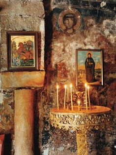 The sound of silence: An altar in the church in Pyrgos Dirou, on the Mani Peninsula in the Peloponnese, Greece Christian Church, Christian Art, Home Altar, Greek Culture, Orthodox Christianity, Orthodox Icons, Place Of Worship, Kirchen, Religious Art