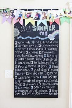 Our 2012 Summer Fun list. So much to look forward too! Even room at the bottom to add more...!