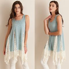 """""""Solitaire"""" Lace Accent Tunic Tank Top Tunic tank top with white lace accents. Available in sand and powder blue. This listing is for the POWDER BLUE. Brand new. Runs slightly loose. NO TRADES. PRICE FIRM. Bare Anthology Tops Tank Tops"""