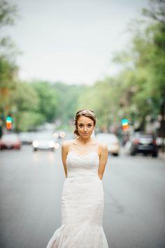 Bride on Bernard street in Montreal. Wedding Bride, Wedding Dresses, Toronto Wedding Photographer, Montreal, One Shoulder Wedding Dress, Destination Wedding, Street, Image, Fashion