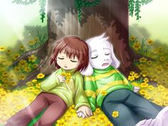 Asriel and Chara so cute :3