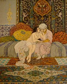 """Leon Carre illustration from the Arabian Nights. Carre produced illustrations for a twelve volume edition of the """"Arabian Nights"""" or the """"Thousand and One Nights' Entertainment"""", in the 1920s."""