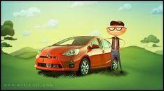 The Prius C cartoon Toyota Prius, Fuel Economy, Cartoon, Vehicles, Game, Engineer Cartoon, Venison, Rolling Stock, Cartoons