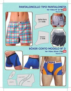 Boxers from Hugo Quili {re-size for dolls} Mens Sewing Patterns, Sewing Men, Sewing Clothes, Sewing Tutorials, Clothing Patterns, Diy Clothes, Sewing Lingerie, Lingerie For Men, Underwear Pattern