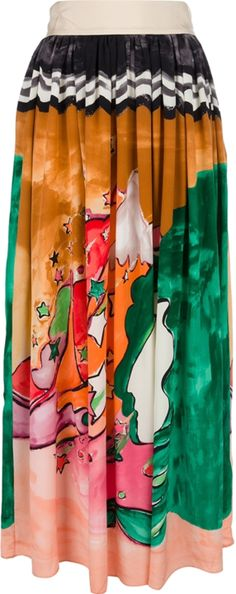 Multi-coloured pleated silk skirt from Tsumori Chisato featuring an illustrated print, a contrast zig-zag print to the top, a fitted waistband, a full length design and a medium sized fit.