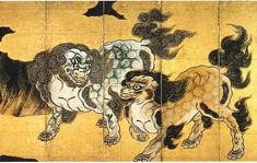 "狩野永徳:唐獅子図屏風 Eitoku KANO The huge folding screens of ""The Lions"" (Karajishi-zu byobu) CLIENT 豊臣秀吉"