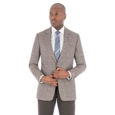 Hammond & Co. by Patrick Grant Brown with blue check pure linen tailored fit suit Fitted Suit, Blue Check, Debenhams, Dan, Suit Jacket, Pure Products, Brown, Fitness, Jackets