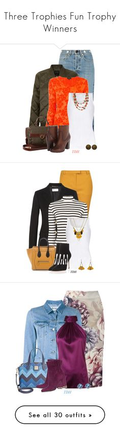 """""""Three Trophies Fun Trophy Winners"""" by jayhawkmommy ❤ liked on Polyvore featuring rag & bone, New Look, Etro, American Vintage, Salvatore Ferragamo, Frye, Topshop, Yves Saint Laurent, Oasis and Atelier Maï Martin"""