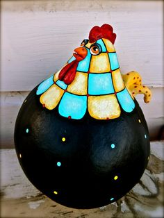 A folk art gourd rooster, hand sculpted and painted. Ready to find a new home on ebay at  http://cgi.ebay.com/ws/eBayISAPI.dll?ViewItem=151011760308