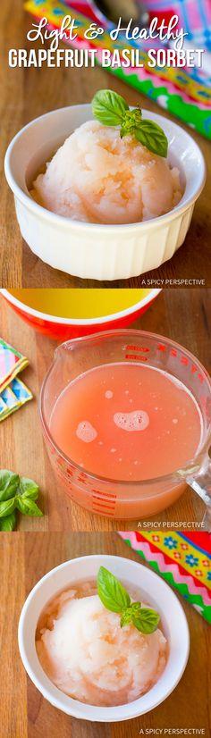 Light & Healthy Grapefruit Basil Sorbet (Fat Free, Dairy Free, Gluten Free, Vegan) | ASpicyPerspective.com