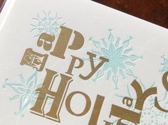 Letterpress Happy Holidays Folded Card by TypothecaryPress on Etsy