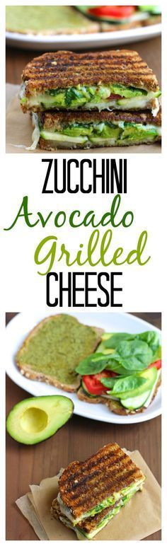 A garlicky, crispy, grilled cheese sandwich that's stuffed with avocado, zucchini, tomatoes, spinach and basil.