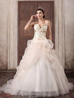 Rezan - robe de mariée mode de bal sans bretelles en satin avec broderie