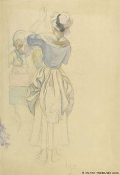 Eero Järnefelt, Figuuriharjoitelma maalaukseen Aurora-seura (lamppua sytyttävä tyttö ja pöydän takana istuva mies)