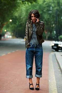 This girl looks exactly like my sister. Weird. Love the jacket and jeans.  Alternatively, if it HAD been my sister, those heels would easily be combat boots.