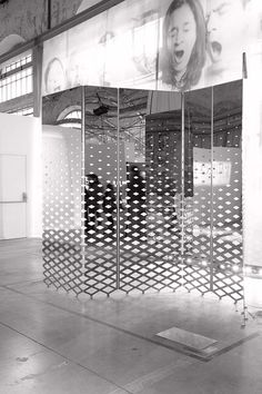Mirrored and etched partition - NormalStudio Screen Design, Wall Design, Partition Screen, Divider Screen, Decorative Screens, Metal Screen, Mirror Panels, Wall Treatments, Retail Design