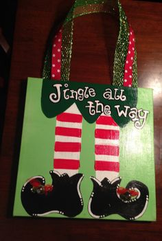 Jingle All The Way Christmas Canvas by KaylynnsKrafts on Etsy, $30.00