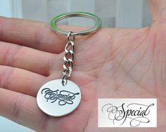 Custom Engraved Disc Keychain Signature Stamp by weimeiOrnaments
