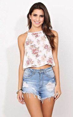 #FashionVault #styles for less #Women #Tops - Check this : Poppy Woven Crop Top - - Ivory Combo in Size by Styles For Less for $16.99 USD