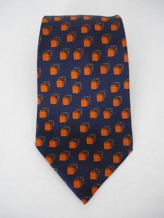 Vintage Neckties Men's 70's YSL Silk Blue Orange by Freshandswanky, $22.00