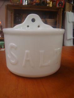 White Glass Salt Box Salt Cellars, Sugar Bowls, Salt Of The Earth, Salt Box, Basins, Cream And Sugar, Spoons, Wall Mount, Jars