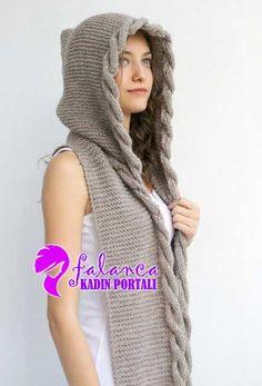 Kapsonlu Atkı Bere - 2 konusuna ait görseller ve resimler | Falanca Kadın Portalı Mens Scarf Knitting Pattern, Crochet Beanie Pattern, Loom Knitting, Baby Knitting, Knitting Patterns, Knit Crochet, Crochet Hats, Sweater Hat, Hooded Scarf
