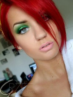 Bright Red Hair & Green Eye shadow . Pink Lip . Fake Lashes . Gorgeous