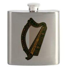 Harp - Ireland Coat Of Arms - 2 Flask #stPatrick'sday #saintPatrick'sday #Ireland #Irish #Harp
