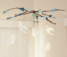 Branch and bird mobile- with templates
