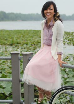 Bicycling + Best Friends - Summer pink tulle skirt, floral lavender blouse, cream cardigan #SummerFashion #WomensFashion #TulleSkirt