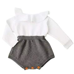 3b4055eaed8d Baby Girls Romper Knitted Ruffle Long Sleeve Jumpsuit Baby Kids Girl Romper  Autumn Winter Casual Clothing