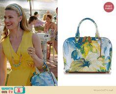 Paige's blue floral bag on Royal Pains.  Outfit Details: http://wornontv.net/35933/ #RoyalPains
