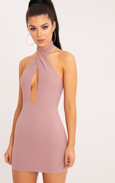 Wendina Truffle Cross Front Crepe Bodycon Dress