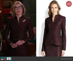 Diane's brown textured jacket and skirt on The Good Wife.  Outfit Details: http://wornontv.net/46878/ #TheGoodWife